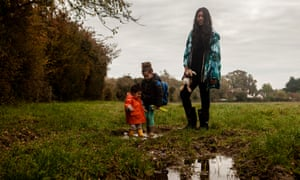 VV Brown and her children in the countryside
