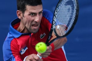 Novak Djokovic plays a shot on his way to victory over Bolivia's Hugo Dellien.