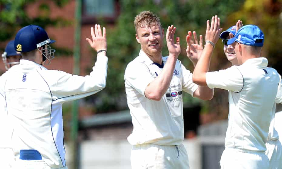 Andrew Flintoff celebrates a wicket during a Northern League match for St Annes in 2014