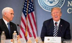 Donald Trump visits the Federal Emergency Management Agency with Vice-President Mike Pence. Away from the cameras he preferred bragging about his negotiating skills to talk of hurricanes.