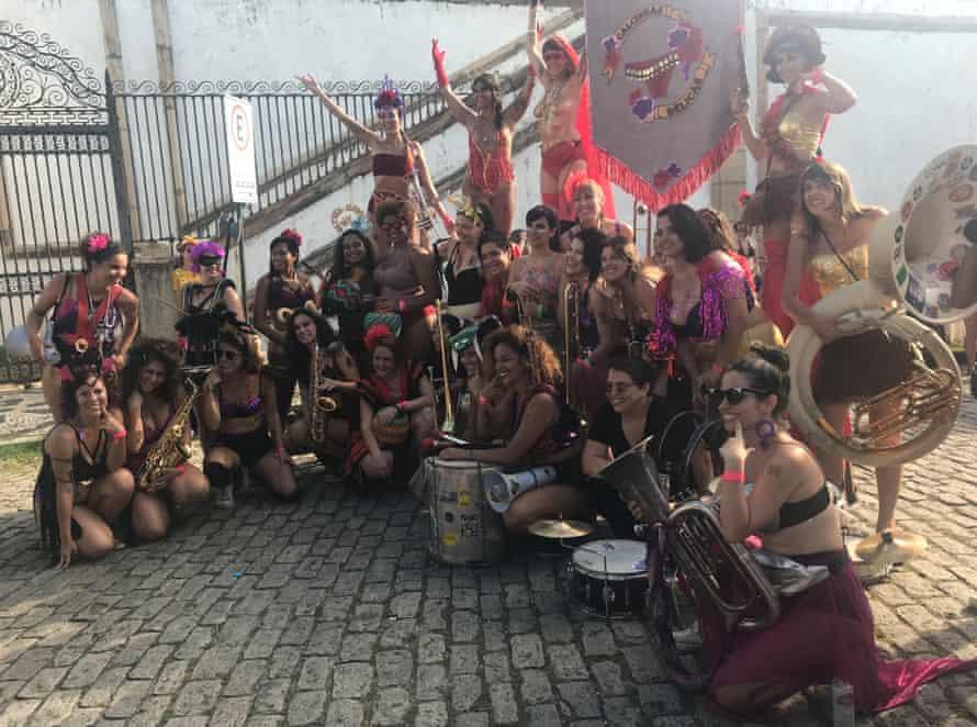 Performers at new women-run street party Calcinhas Bélicas, Warlike Knickers