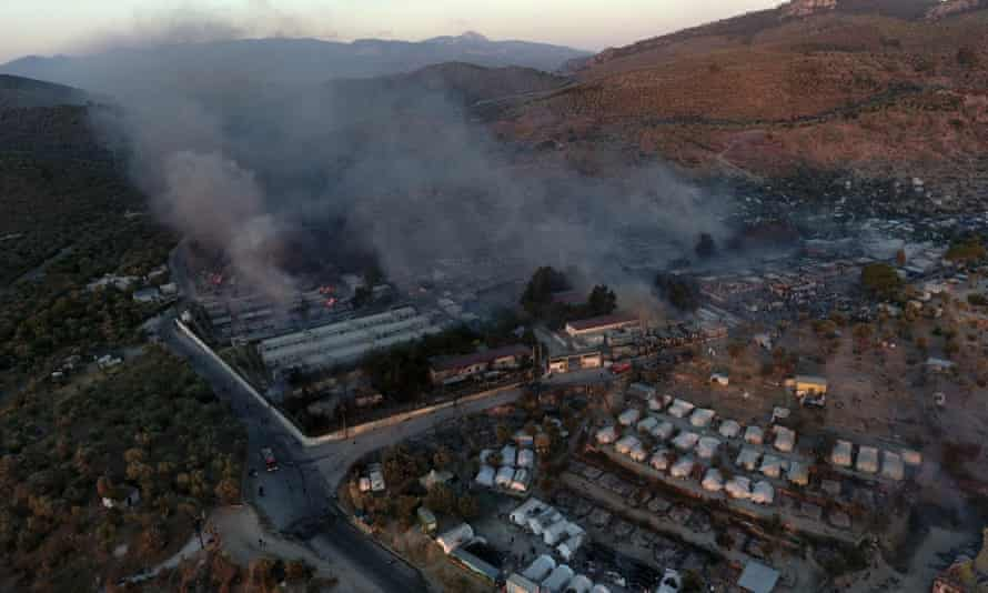 Tents on fire in the Moria refugee camp