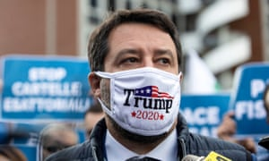 Italy's Matteo Salvini wearing a 'Trump 2020' face mask at a protest in Rome this month.
