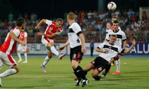 Skenderbeu, in red, take on Crusaders in Albania in a Champions League qualifier in 2015. The return match is among those to feature in Uefa's investigation.