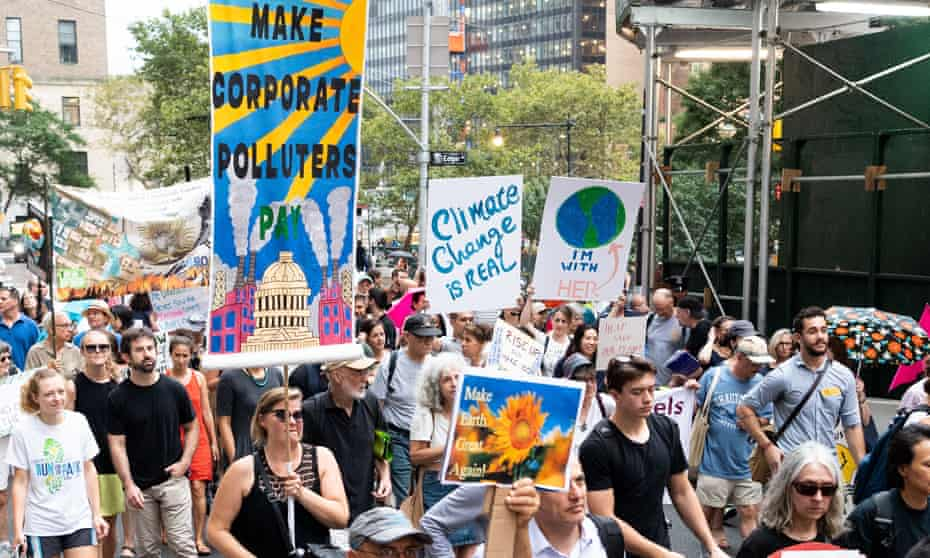 Protesters march in New York on 6 September, just ahead of a climate action summit in San Francisco this week.
