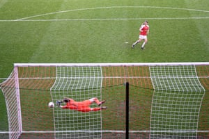 Bardsley saves the third penalty from Van De Donk