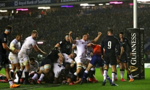 England celebrate as Ellis Genge scores the only try of the match.