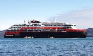 the Roald Amundsen cruise ship off the Chilean Port of Punta Arenas.