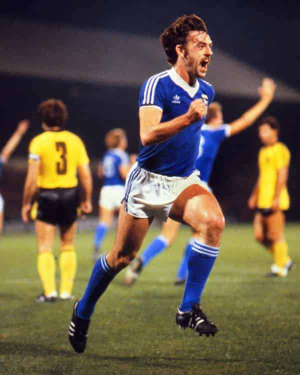John Wark celebrates after scoring one of his four goals in Ipswich's win over Aris Thessaloniki in the Uefa Cup first round.