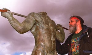 Aboriginal elder Ken Colbung with the bronze statue of the 19th century Aboriginal warrior Yagan after it was discovered that its head had been severed and stolen