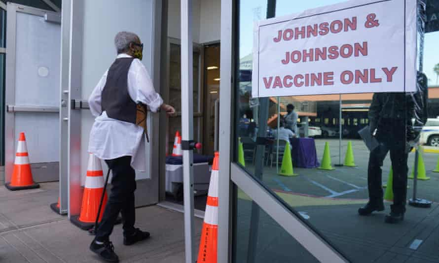A vaccination centre offering the Johnson & Johnson vaccine earlier this month in Los Angeles