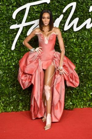 Model of the year nominee Winnie Harlow wearing Vivienne Westwood