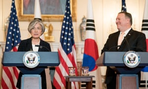 Mike Pompeo and South Korean foreign minister Kang Kyung-wha at a joint press conference in Washington on 11 May.