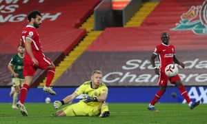 Liverpool's Mohamed Salah beats Aaron Ramsdale but not the woodwork.