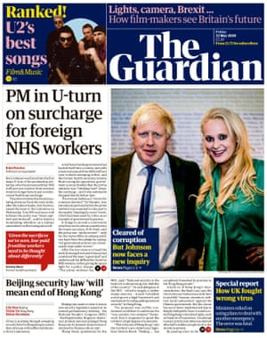 Guardian front page, Friday 22 May 2020