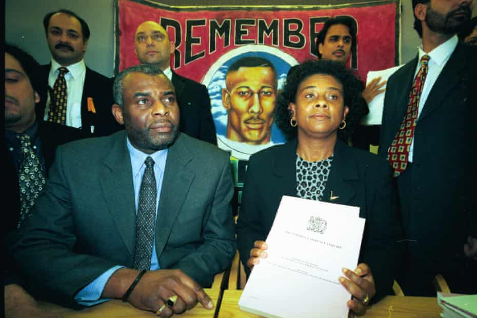 Neville and Doreen Lawrence at the press conference following the 1999 Macpherson inquiry report into their son Stephen Lawrence's murder.