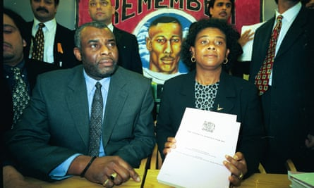 Neville and Doreen Lawrence at the press conference following the Inquiry report into their son Stephen Lawrence's murder.