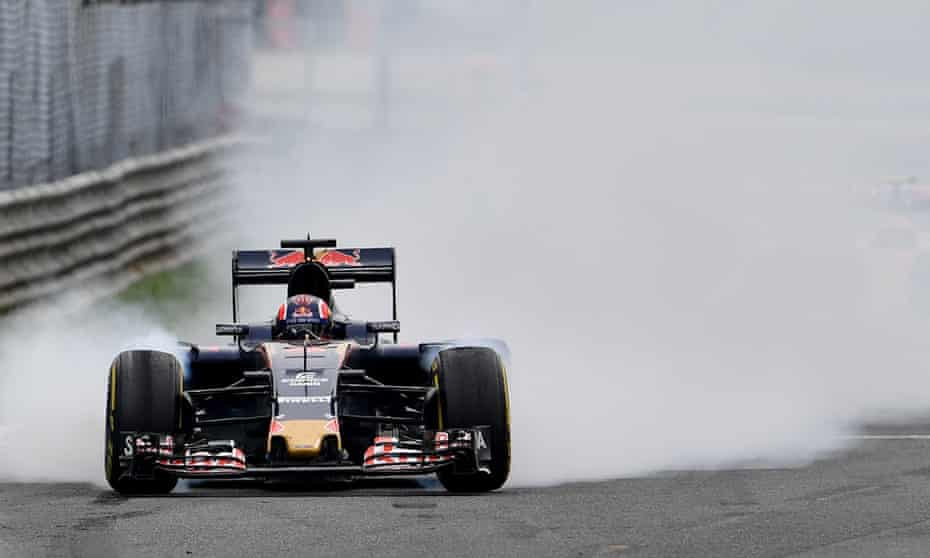 Grand prix driver brakes hard