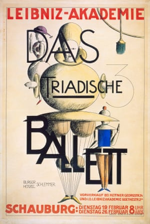German poster for The Triadic Ballet, at the Leibniz Academy, 1924With his work The Triadic Ballet, Oskar Schlemmer pushed dance into the 20th century, using cartoonish costumes and bright colours in a bizarre exploration of modernity – and a new exhibition shows off his unique imagination. Oskar Schlemmer: The Dancing Artist is at Centre Pompidou-Metz until 16 January. All photographs: Oskar Schlemmer/Archive C Raman Schlemmer