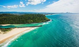 Aerial of Palm Beach, Tallebudgera Creek & Burleigh Head in the near background, Surfers Paradise, Gold Coast, Australia