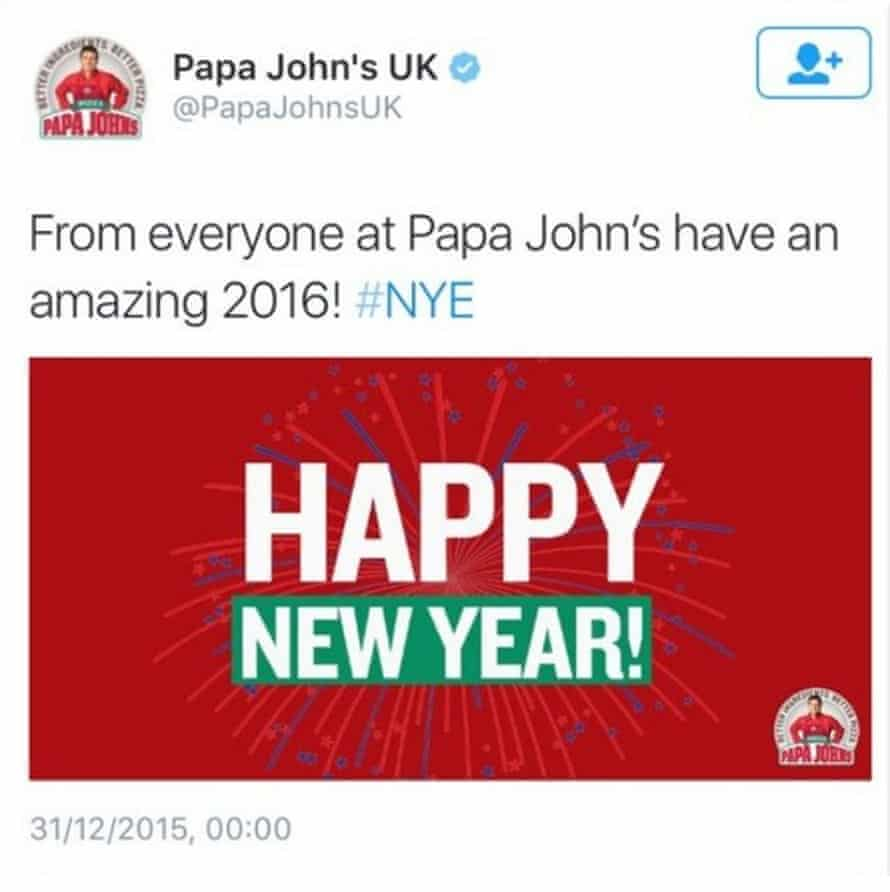 Papa John's thinks it is 2016 already.