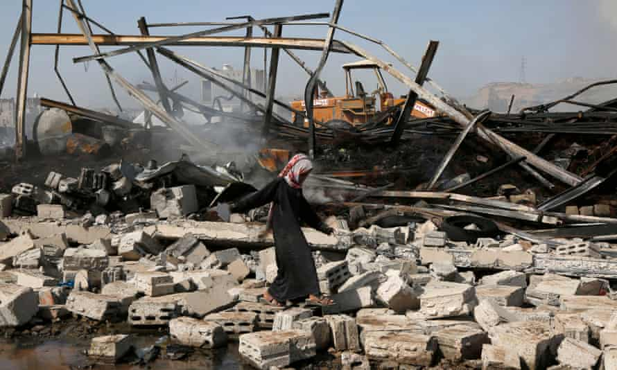 The aftermath of airstrikes carried out by the Saudi-led coalition in Sana'a, Yemen on 2 July.