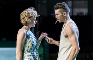Maxine Peake as Blanche DuBois and Ben Batt as Stanley Kowalski in A Streetcar Named Desire at the Royal Exchange.