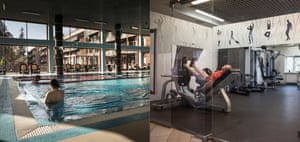 The swimming pool and gym at Hotel ForRestMix.