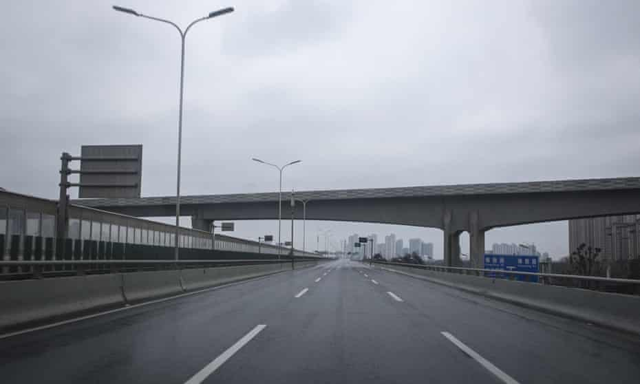 Empty roads due to travel restrictions in Wuhan.