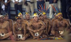 Indigenous representatives listen to Pope Francis in Puerto Maldonado, Peru, on Friday.
