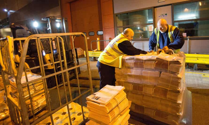 The papers are mechanically strapped into bundles and then shrink-wrapped on to pallets before being loaded on to delivery lorries.