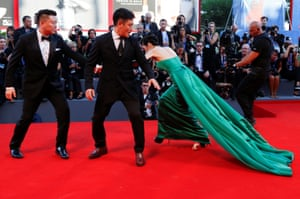 Someone stumbles on the red carpet