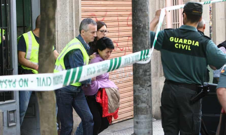 Rosario Porto being arrested on suspicion of murder.