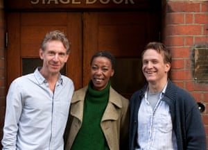 Cast members left to right: Paul Thornley (Ron), Noma Dumezweni (Hermione) and Jamie Parker (Harry) at the Palace Theatre