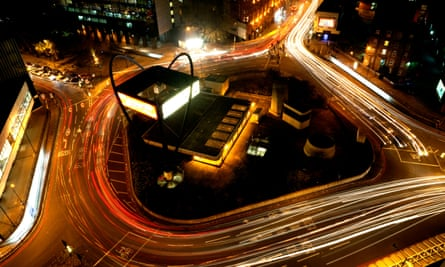 Old Street's Silicon Roundabout during evening rush hour
