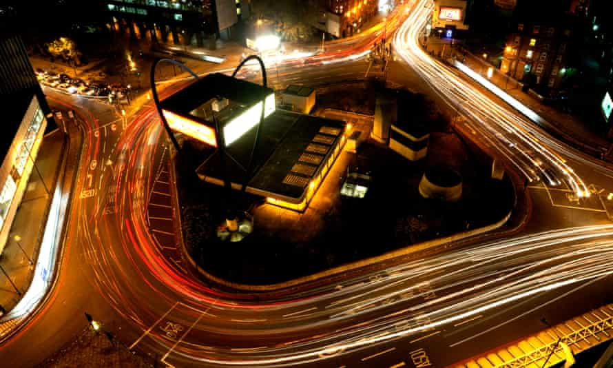 London's Old Street roundabout by night