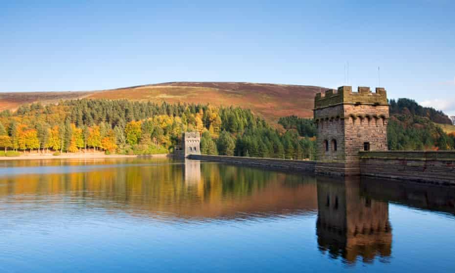 The Derwent Dam reflected in Derwent Reservoir