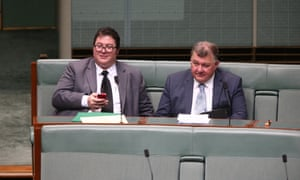 The member for Dawson George Christensen with the member for Hughes Craig Kelly in the House of Representatives chamber of Parliament House, Canberra this morning Monday 30th November 2015.