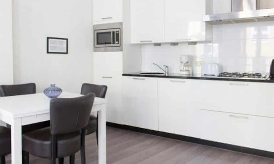 The apartment's kitchen area – where cooking is not allowed