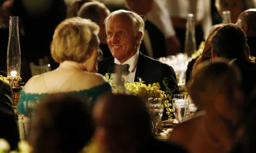 Greg Norman in the Rose Garden at the White House during the state dinner
