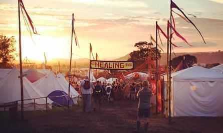 Sunset at Glastonbury's Healing Field.