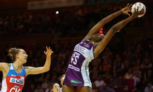 Romelda Aiken takes a catch during the Super Netball match between the Firebirds and the Swifts at Brisbane Convention & Exhibition Centre on Friday.