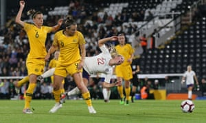 """England Women v Australia Women, Women's International Friendly, Football, Craven Cottage, London, UK - 09 Oct 2018<br>EDITORIAL USE ONLY No use with unauthorised audio, video, data, fixture lists (outside the EU), club/league logos or """"live"""" services. Online in-match use limited to 45 images (+15 in extra time). No use to emulate moving images. No use in betting, games or single club/league/player publications/services. Mandatory Credit: Photo by Michael Zemanek/BPI/REX/Shutterstock (9919669bl) Beth Mead of England goes down under pressure from Caitlin Foord of Australia - no penalty England Women v Australia Women, Women's International Friendly, Football, Craven Cottage, London, UK - 09 Oct 2018"""