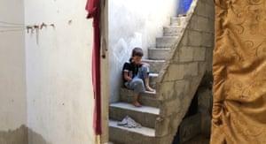 """哈桑·卡坦(Hasan Kattan)的短片""""群集""""(Clusterd)中的一个场景,讲述了叙利亚男孩被集束炸弹炸伤的故事。"""