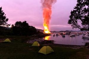 47,4 meter world record bonfire at Slinningen, Alesund, Norway