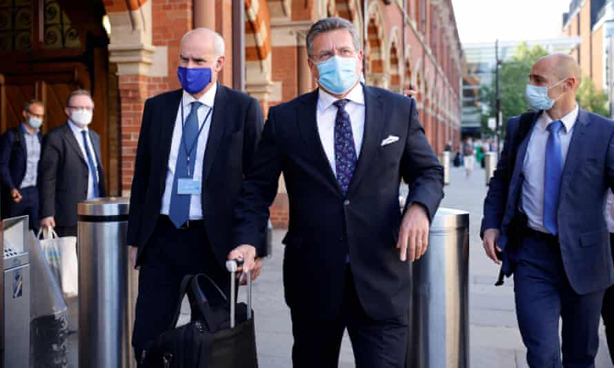 European Commission vice-president Maros Sefčovič, centre, arrives in London to lead the negotiations from Brussels' side