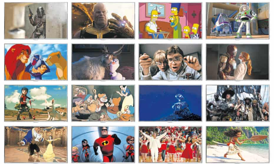 multiple TV screens showing Disney+ content including Toy Story, Star Wars, Avengers and more