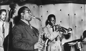 Charlie Parker, Miles Davis, and Tommy Potter<br>perform at the Three Deuces in 1947