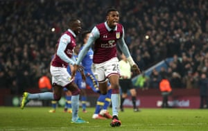 Jonathan Kodija celebrates scoring from the penalty spot against Leeds on Boxing Day.
