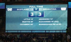 Scotland 3-3 Argentina –the final scoreboard in Paris.